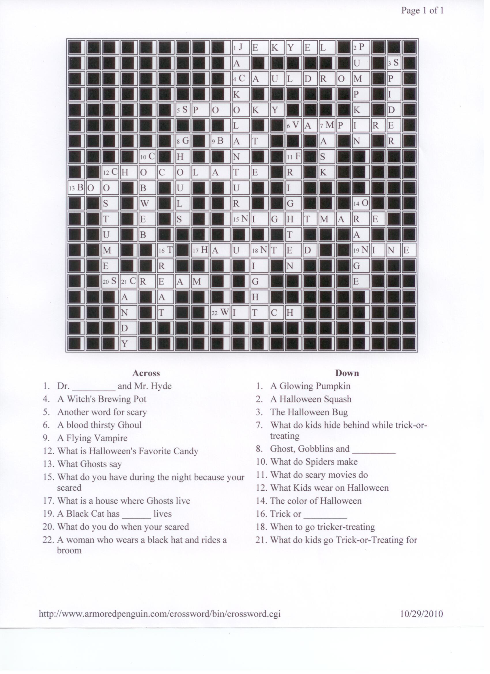 halloween crossword answers halloween word scramble
